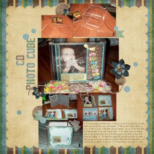 Round 3: Hybrid Project- CD Photo Cube layout. Kit used is Cuddlebeez About the Man