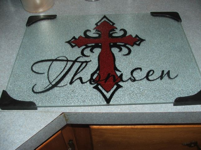 Red and Black Cross Personalized Cutting Board